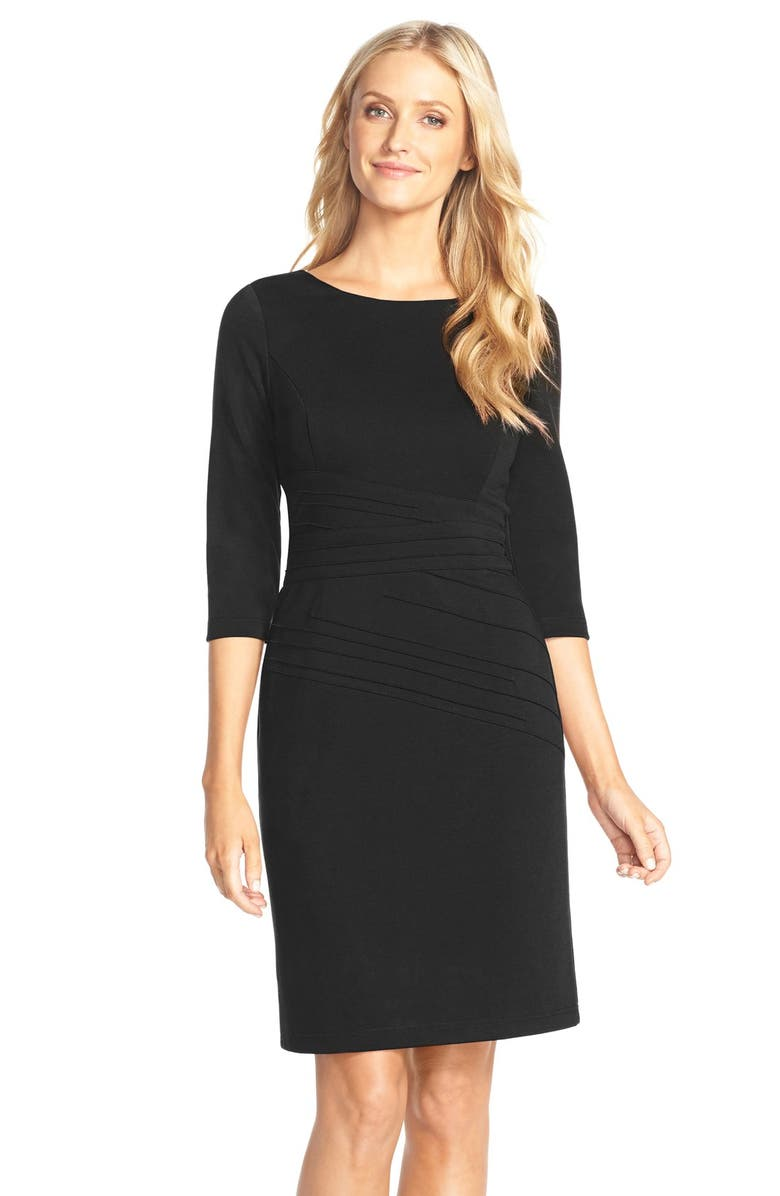 ELLEN TRACY Seamed PonteSheath Dress, Main, color, 001