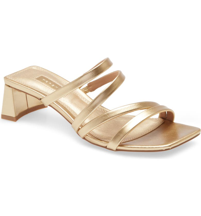 TOPSHOP Dixie Strappy Sandal, Main, color, GOLD