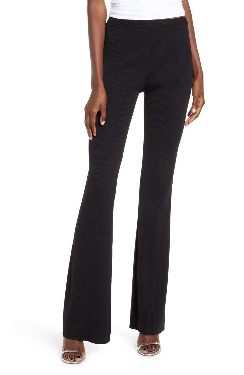 TIGER MIST Lucy Knit Flare Pants, Main, color, BLACK