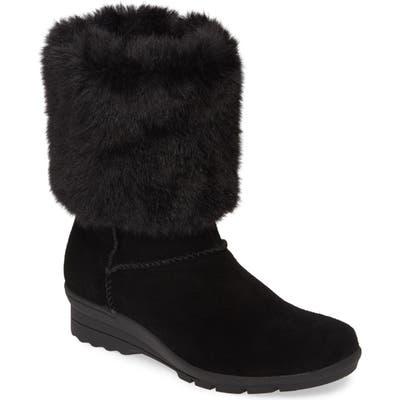 Taryn Rose Erica Faux Fur Weatherproof Boot- Black