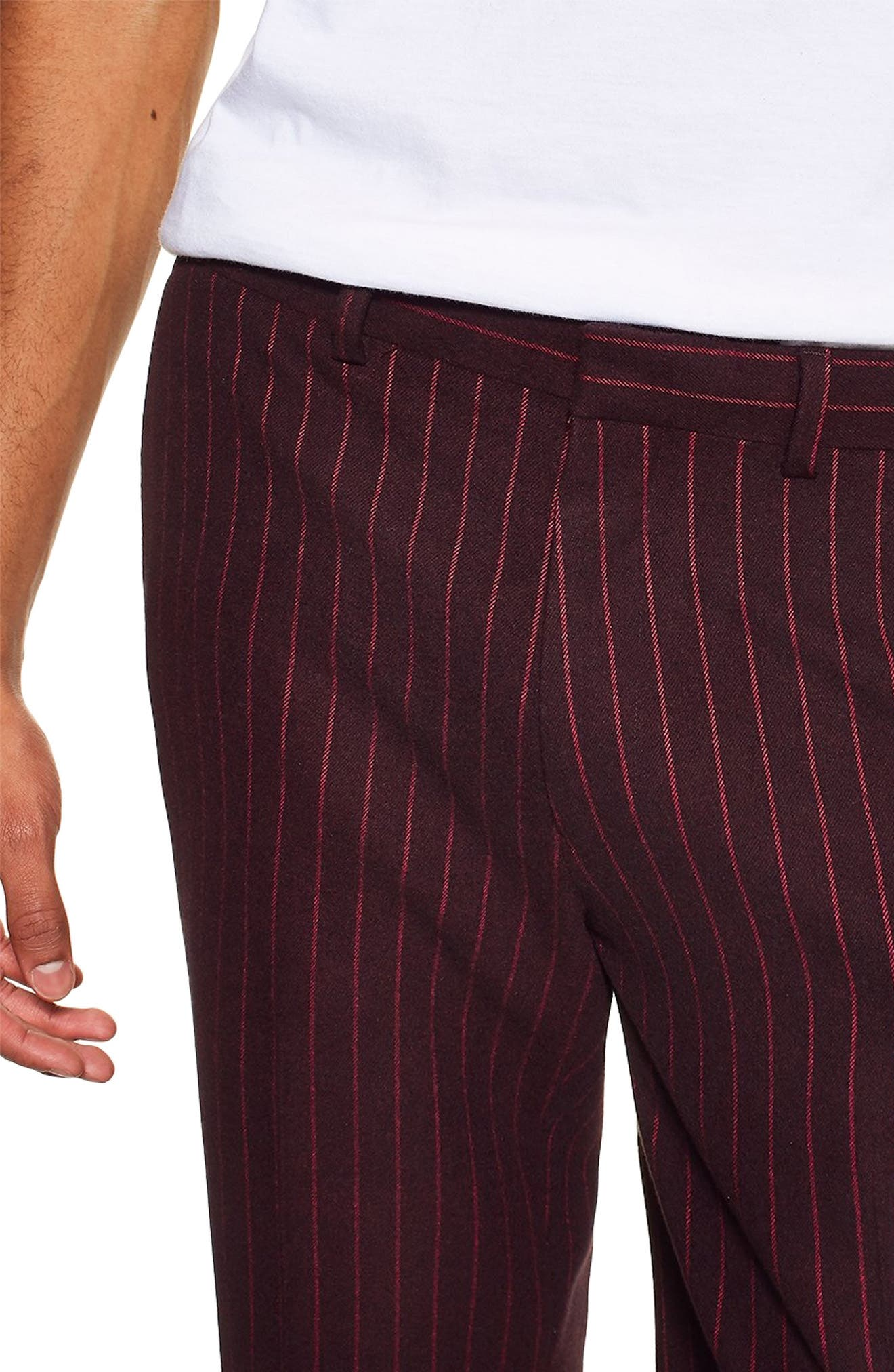 ,                             Rocky Slim Fit Pinstripe Trousers,                             Alternate thumbnail 4, color,                             NAVY BLUE