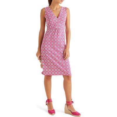 Boden Eden Geo Print Jersey Sleeveless Dress, Pink