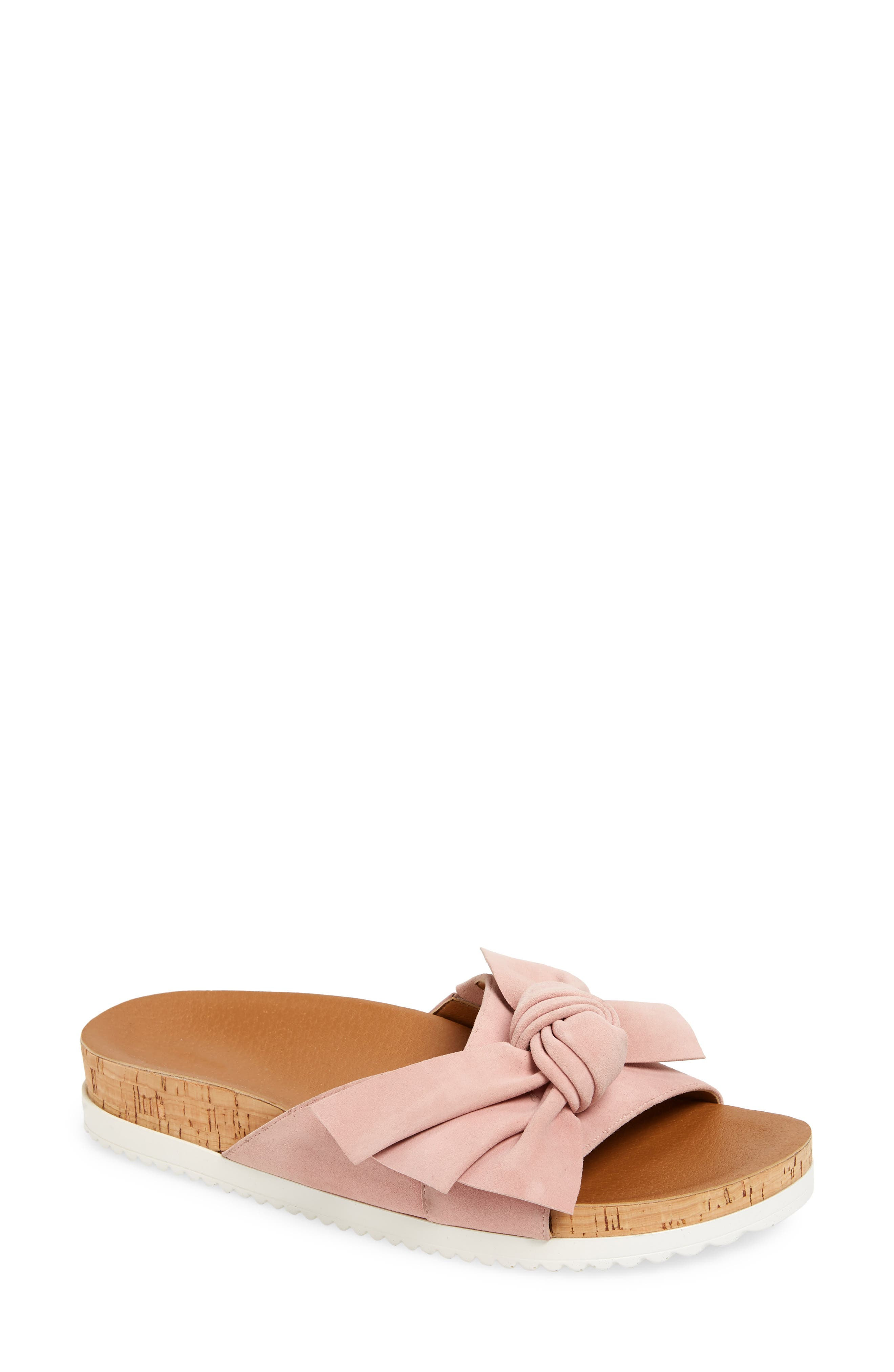 A cork midsole adds a summery touch to a leather slide fashioned with a knotted bow at the suede strap. Style Name: Caslon Kailee Slide Sandal (Women). Style Number: 6014912. Available in stores.