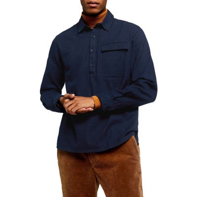 Topman Slim Fit Flannel Popover Shirt, Blue