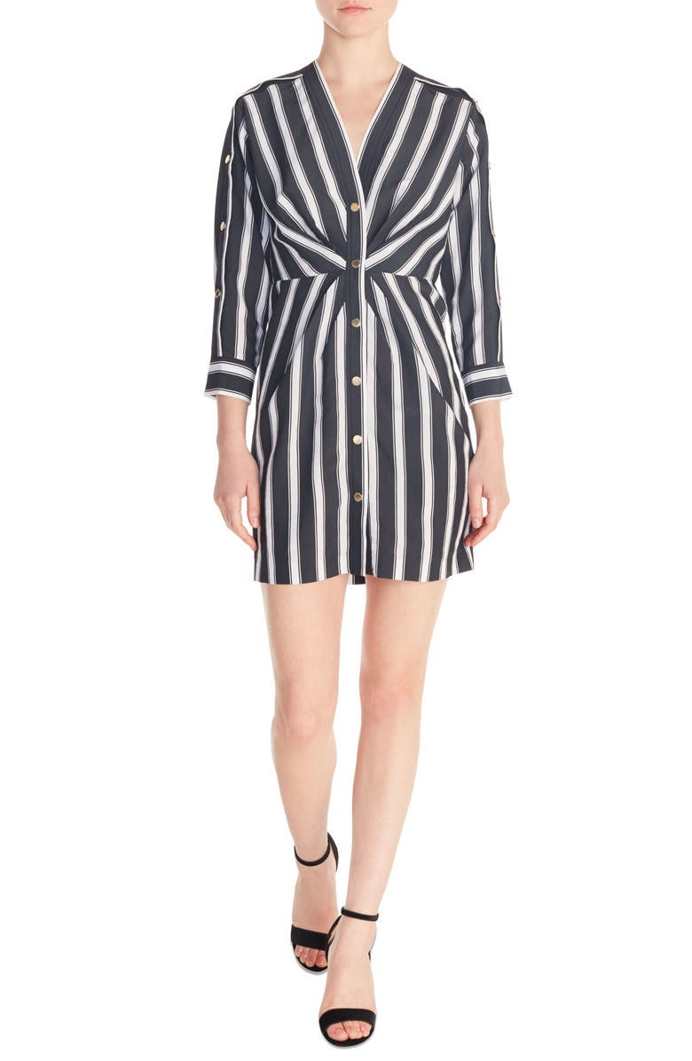 SANDRO Camelia Stripe Snap Front Shirtdress, Main, color, 001