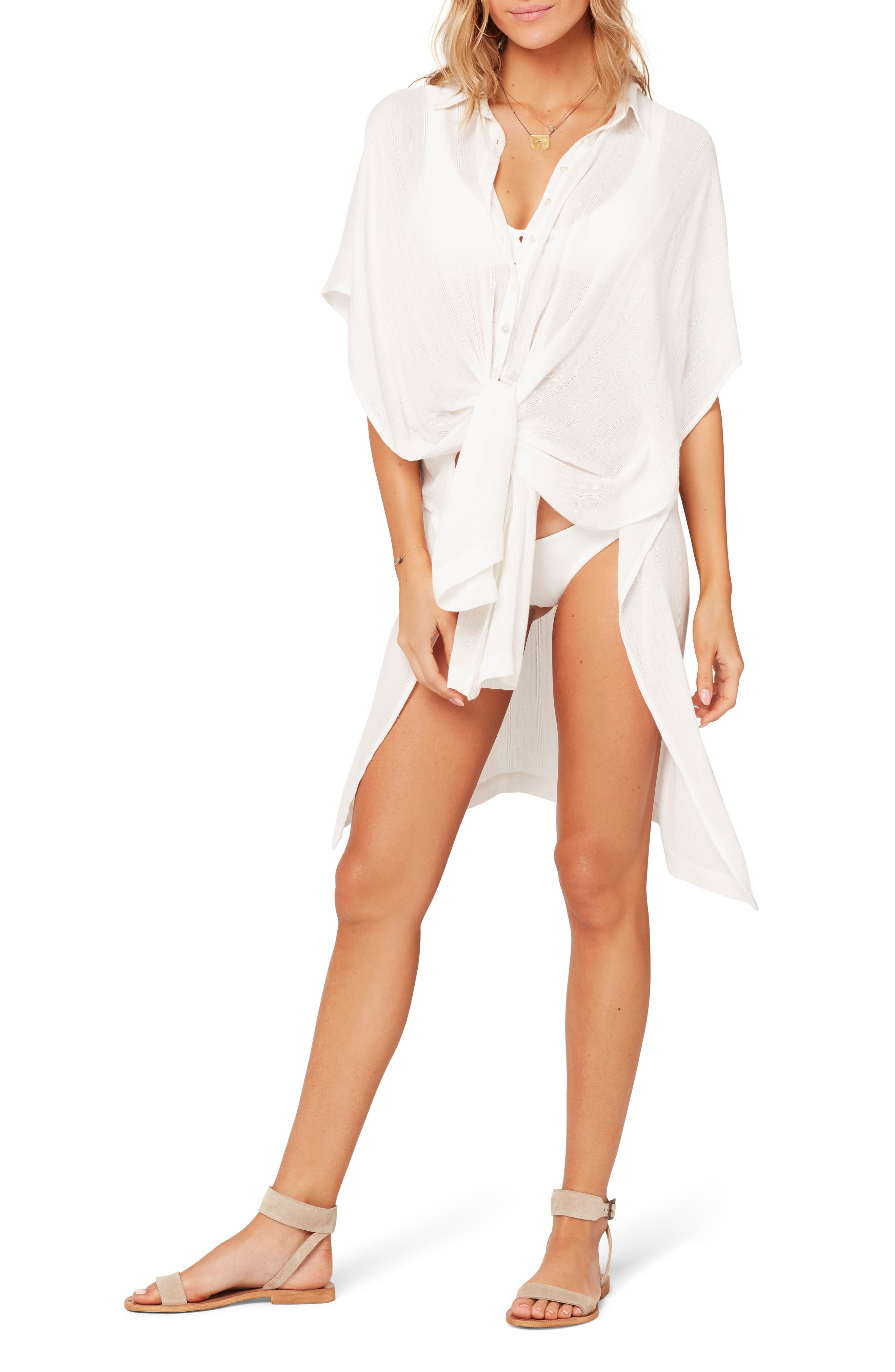 L Space Anita Cover-Up Shirtdress, White