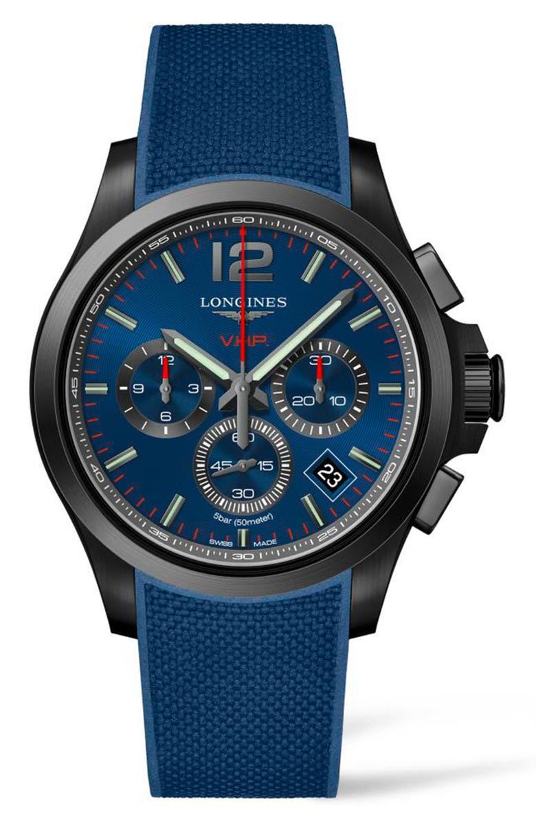 LONGINES Conquest V.H.P. Rubber Strap Watch, 42mm, Main, color, BLUE/ BLACK