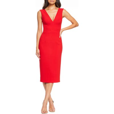 Dress The Population Sandy Plunge Neck Stretch Crepe Sheath Dress, Red