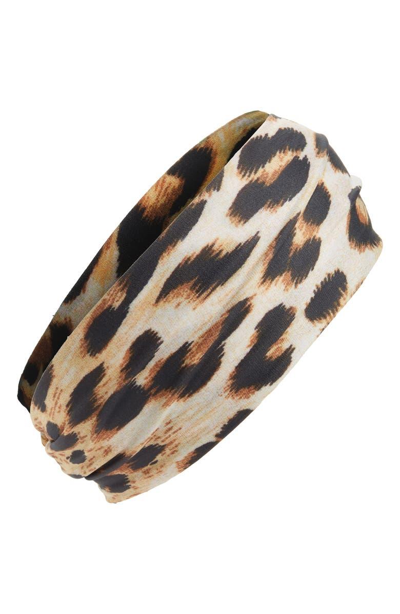 L. ERICKSON Leopard Print Head Wrap, Main, color, 200
