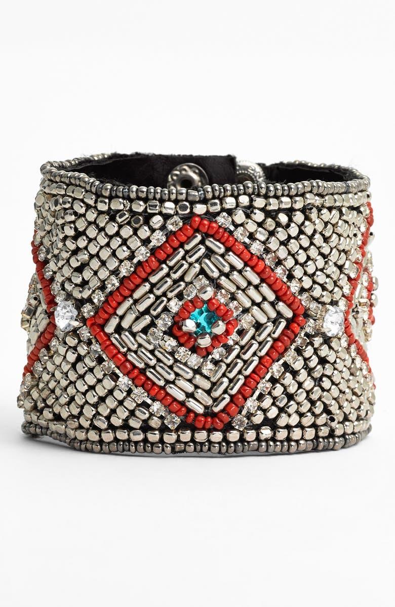 CARA Couture Beaded Cuff Bracelet, Main, color, 040