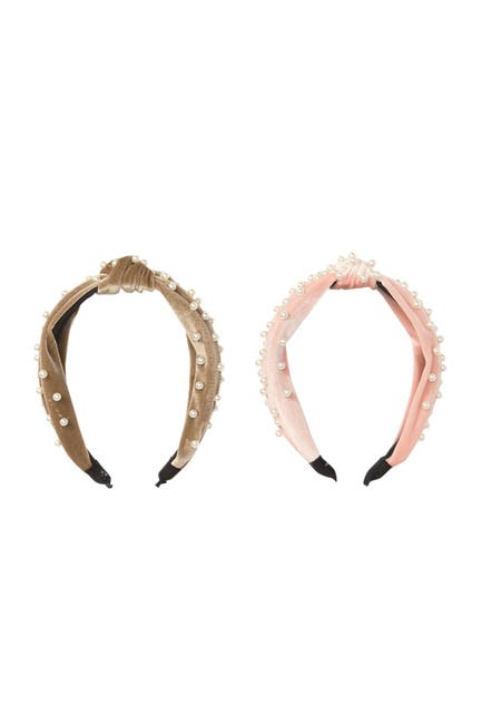 Image of Natasha Accessories Imitation Pearl Top Knot Velvet Headband - Pack of 2