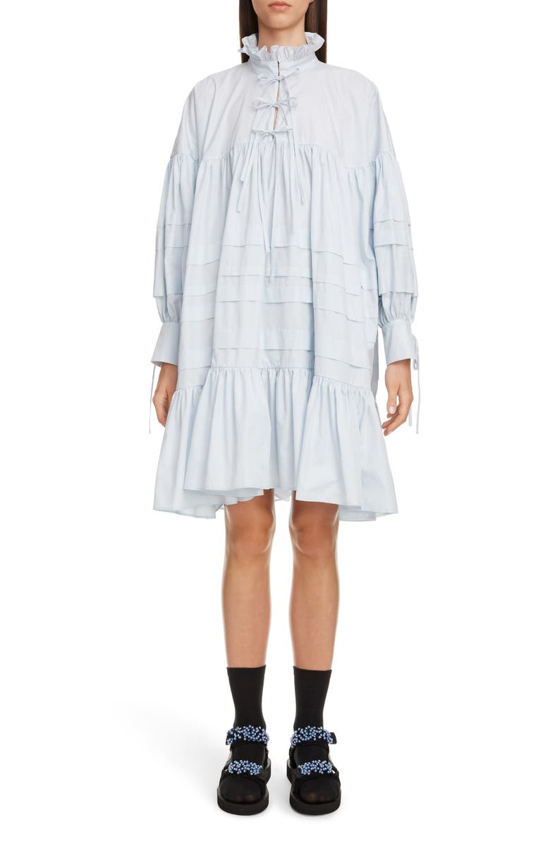 CECILIE BAHNSEN Macy Pleated Long Sleeve Shirtdress, Main, color, LIGHT BLUE