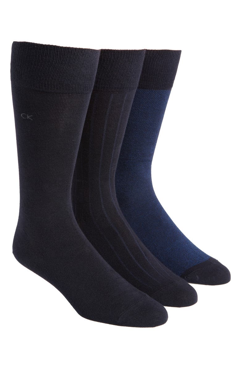 CALVIN KLEIN 3-Pack Crew Socks, Main, color, NAVY