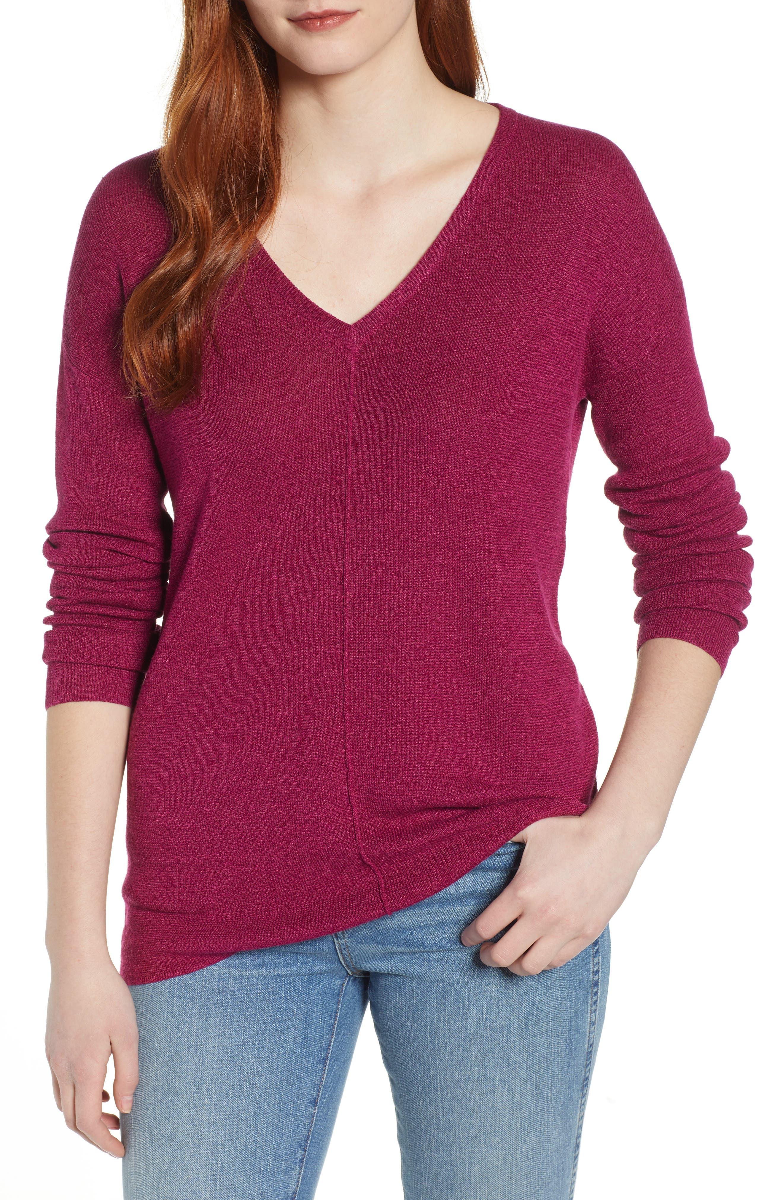 Caslon V-Neck Sweater, Purple