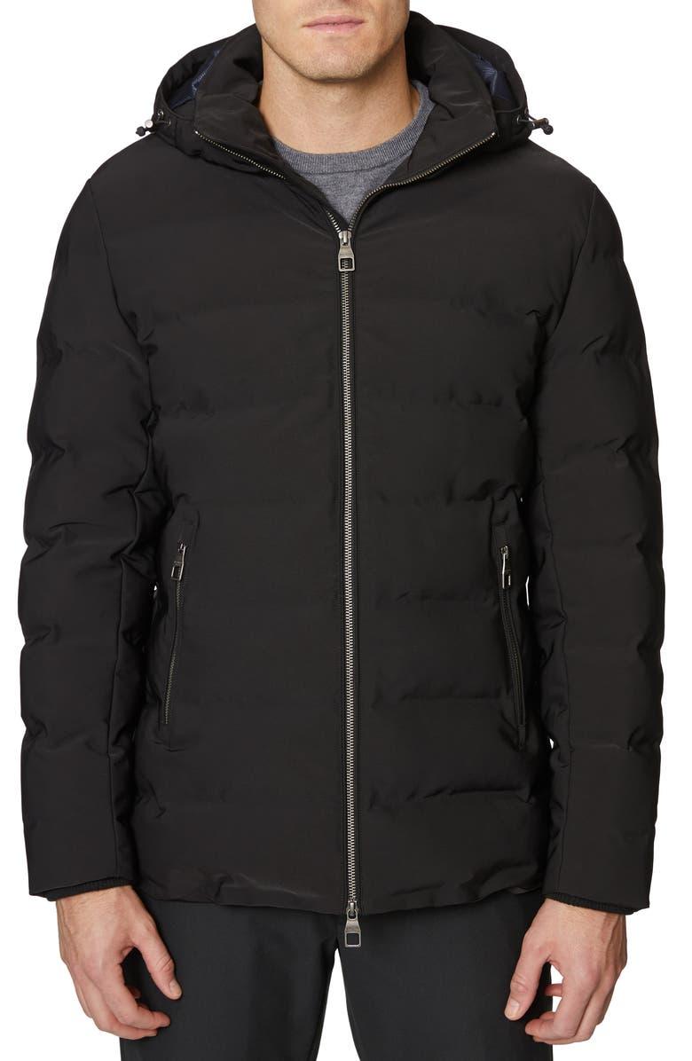 HICKEY FREEMAN Hooded Seam Sealed Jacket, Main, color, BLACK