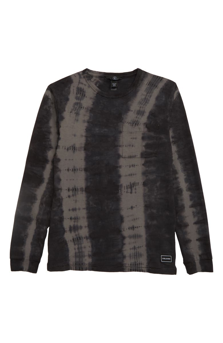 VOLCOM Chill Dye Long Sleeve T-Shirt, Main, color, BLACK