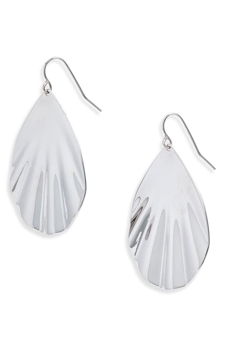 HALOGEN<SUP>®</SUP> Rippled Teardrop Earrings, Main, color, RHODIUM