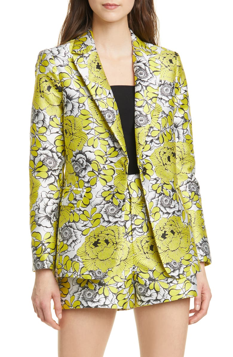ALICE + OLIVIA Macey Floral Fitted Blazer, Main, color, 735