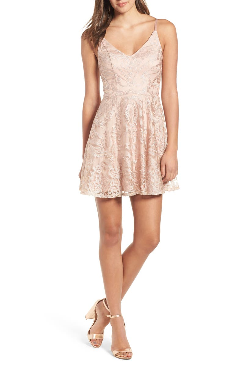 SPEECHLESS Embroidered Mesh Skater Dress, Main, color, NUDE/ BLUSH