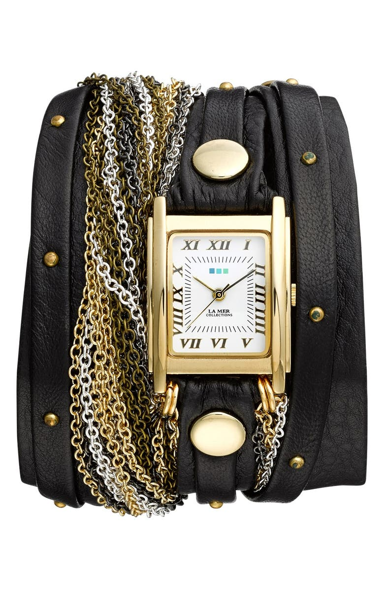 LA MER COLLECTIONS 'Venice' Leather & Chain Wrap Bracelet Watch, 30mm x 23mm, Main, color, 710