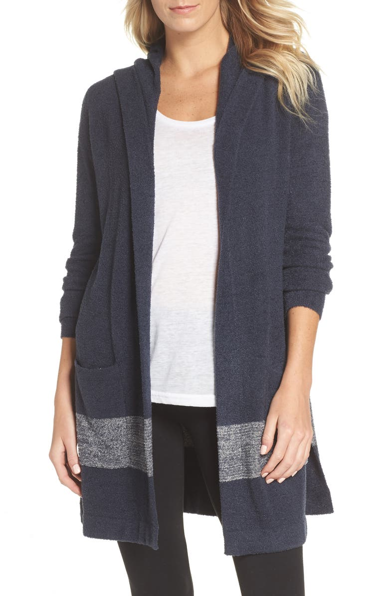 BAREFOOT DREAMS<SUP>®</SUP> Cozychic Lite<sup>®</sup> Coastal Hooded Cardigan, Main, color, INDIGO/ INDIGO-STONE