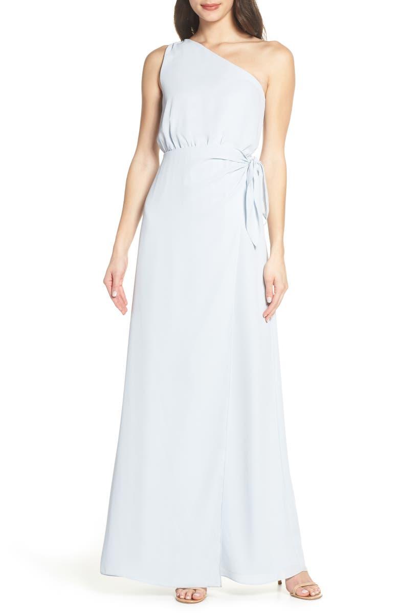 WAYF One-Shoulder Wrap Front Evening Dress, Main, color, OCEAN MIST
