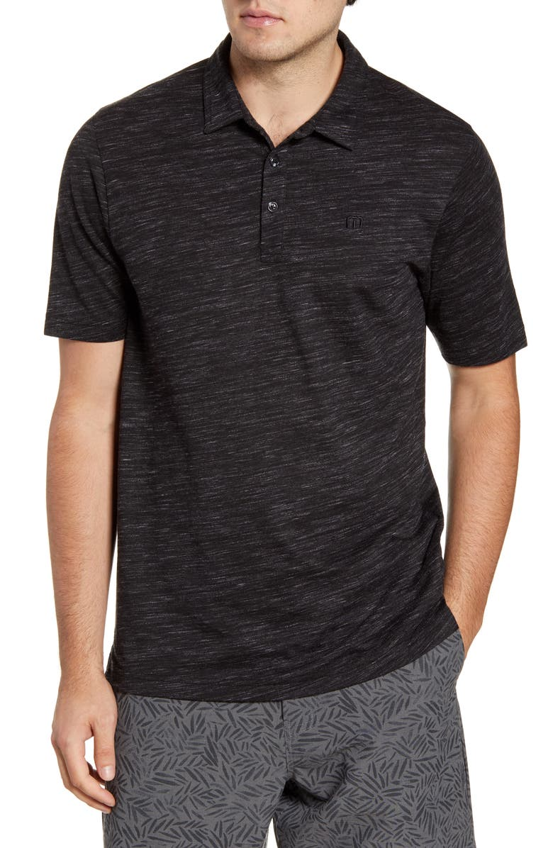 TRAVISMATHEW Flying Tortilla Regular Fit Performance Polo, Main, color, BLACK