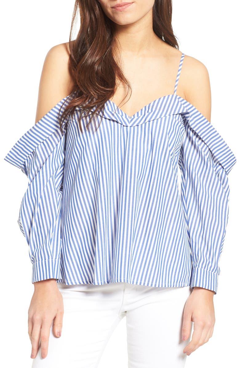 BARDOT Paloma Cotton Off the Shoulder Top, Main, color, 460