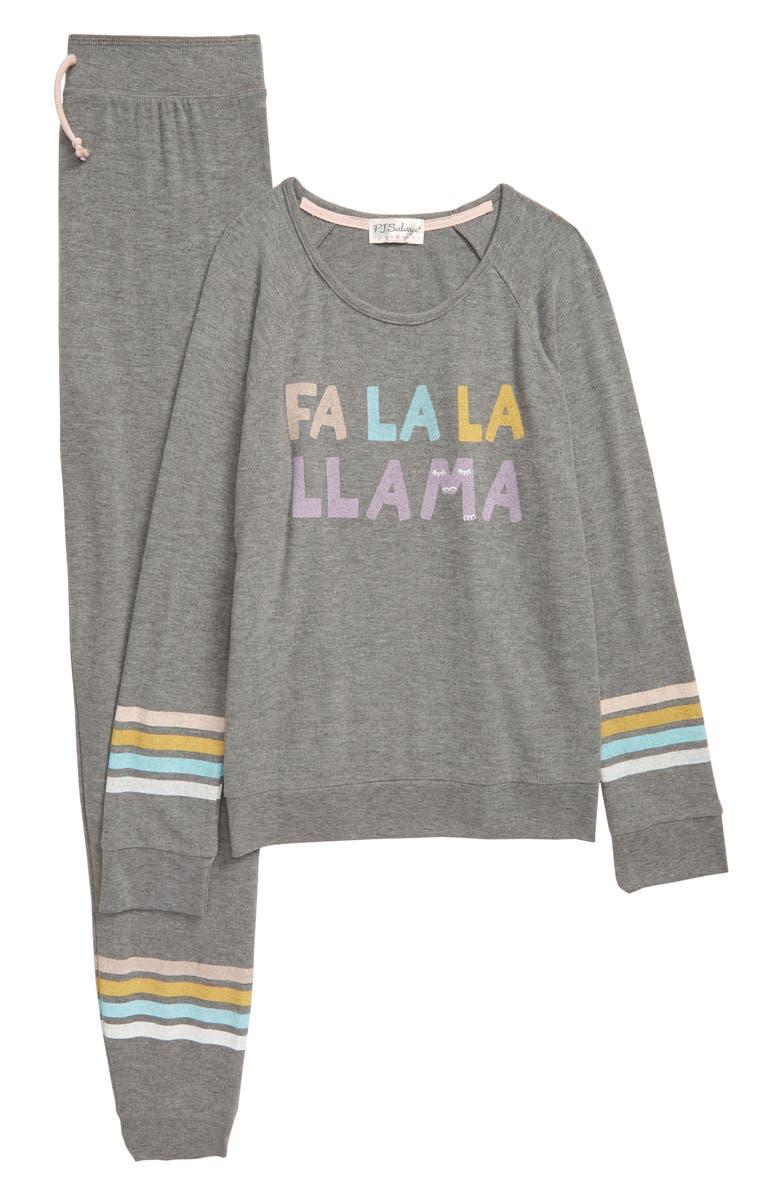 PJ SALVAGE Fa La La Two-Piece Pajamas, Main, color, 028