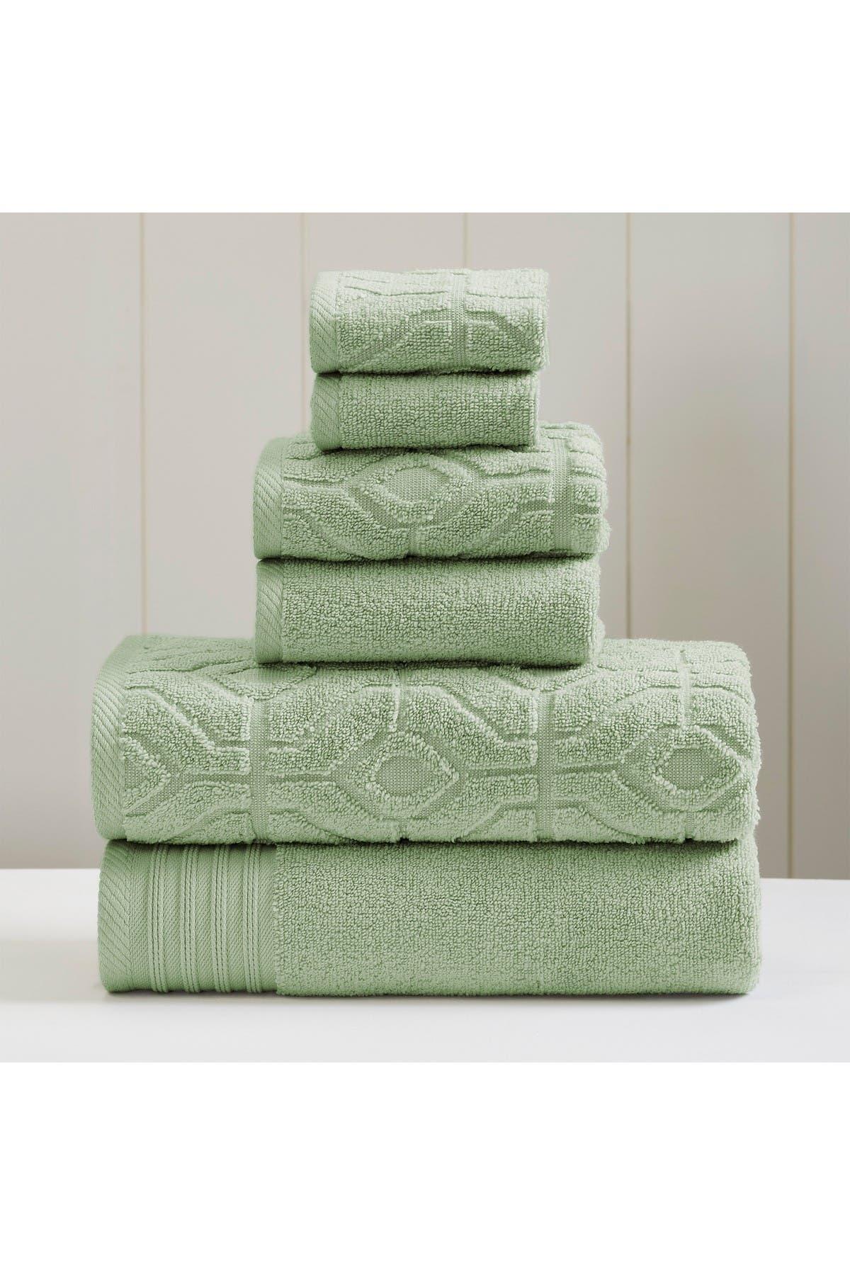 Image of Modern Threads Yarn Dyed Diamond Gate 6-Piece Towel Set - Sea Foam Green