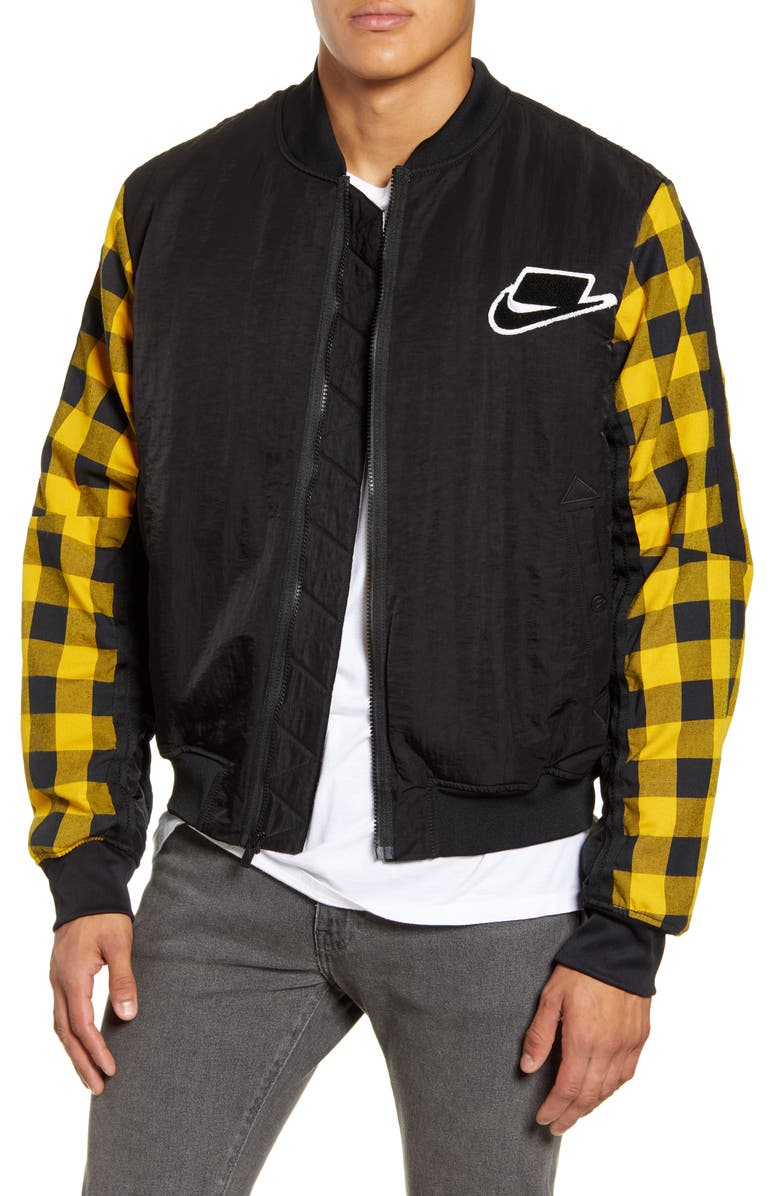 NIKE Sportswear Buffalo Check Synthetic Fill Bomber Jacket, Main, color, 010