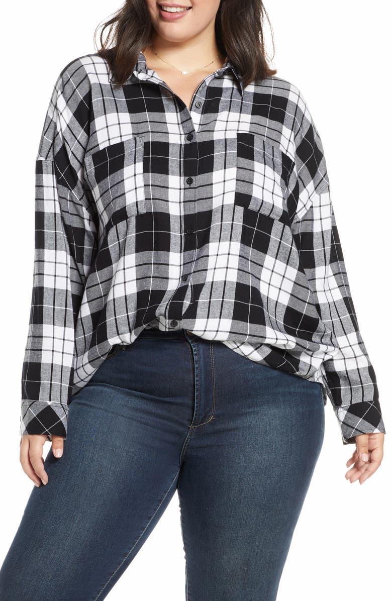 BP. Plaid Boyfriend Shirt, Main, color, BLACK CHARLIE PLAID