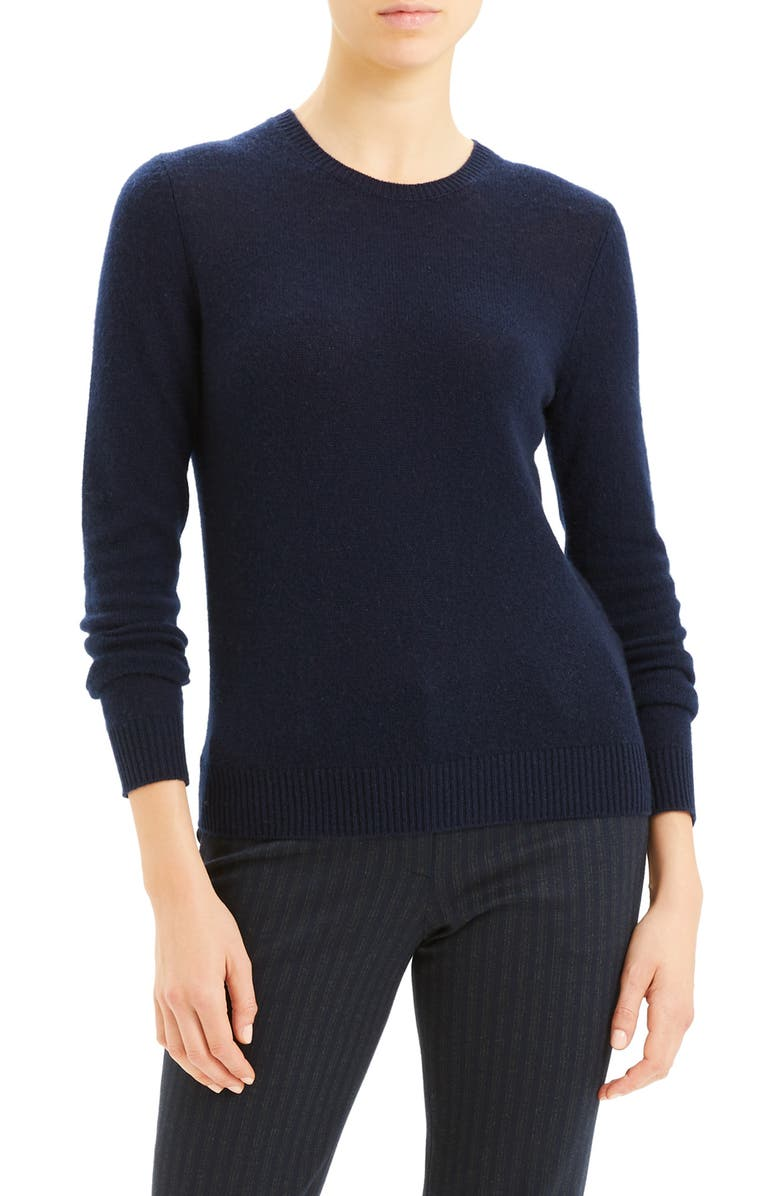 THEORY Crewneck Cashmere Sweater, Main, color, NAVY