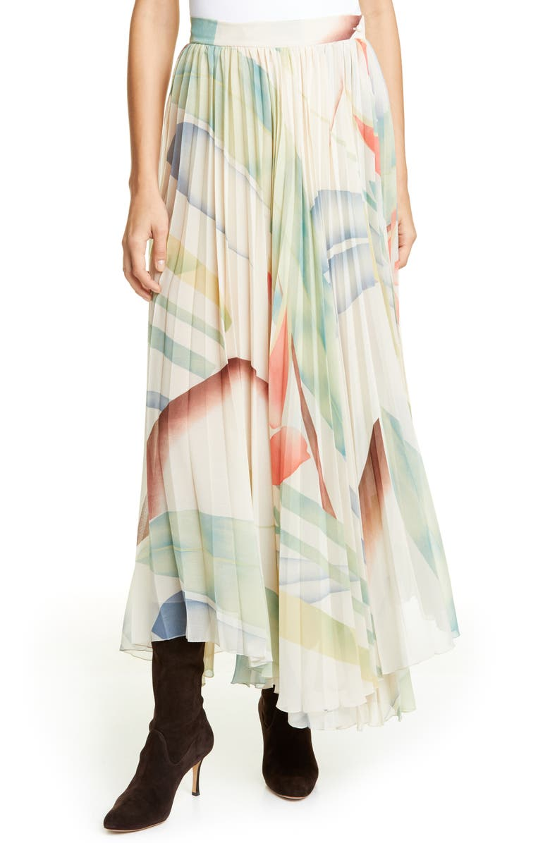 ETRO Watercolor Leaf Print Pleated Maxi Skirt, Main, color, 100