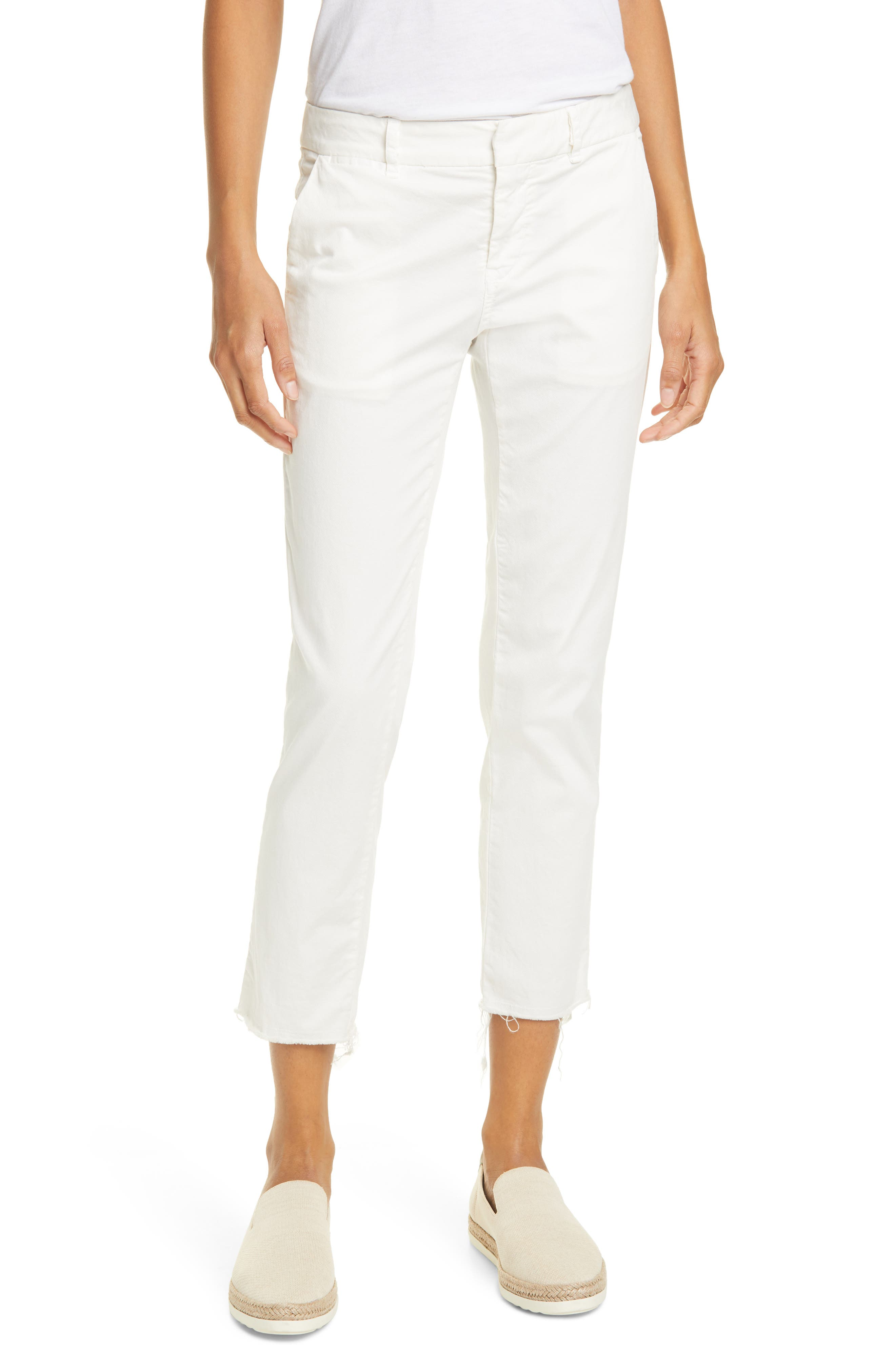 Women's Nili Lotan East Hampton Stretch Cotton Twill Crop Pants,  10 - Ivory