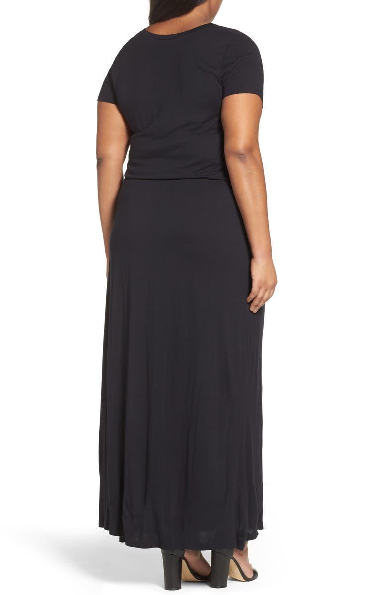 CASLON<SUP>®</SUP> Knit Drawstring Waist Maxi Dress, Main, color, BLACK