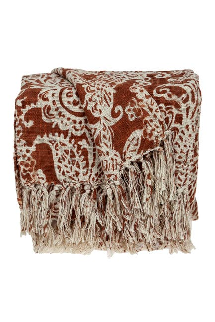"Image of Parkland Collection Hina Floral Rust 52"" x 67"" Woven Handloom Throw Blanket"