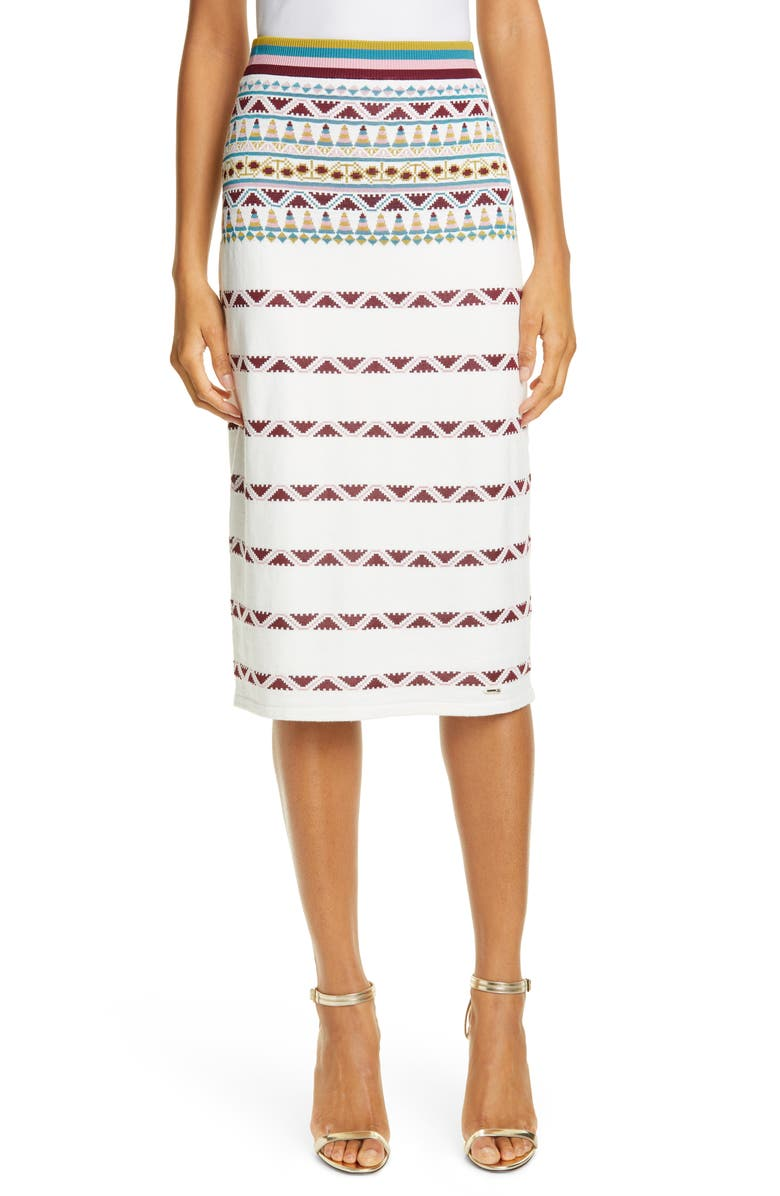 TED BAKER LONDON Coari Geo Pattern Knit Skirt, Main, color, IVORY