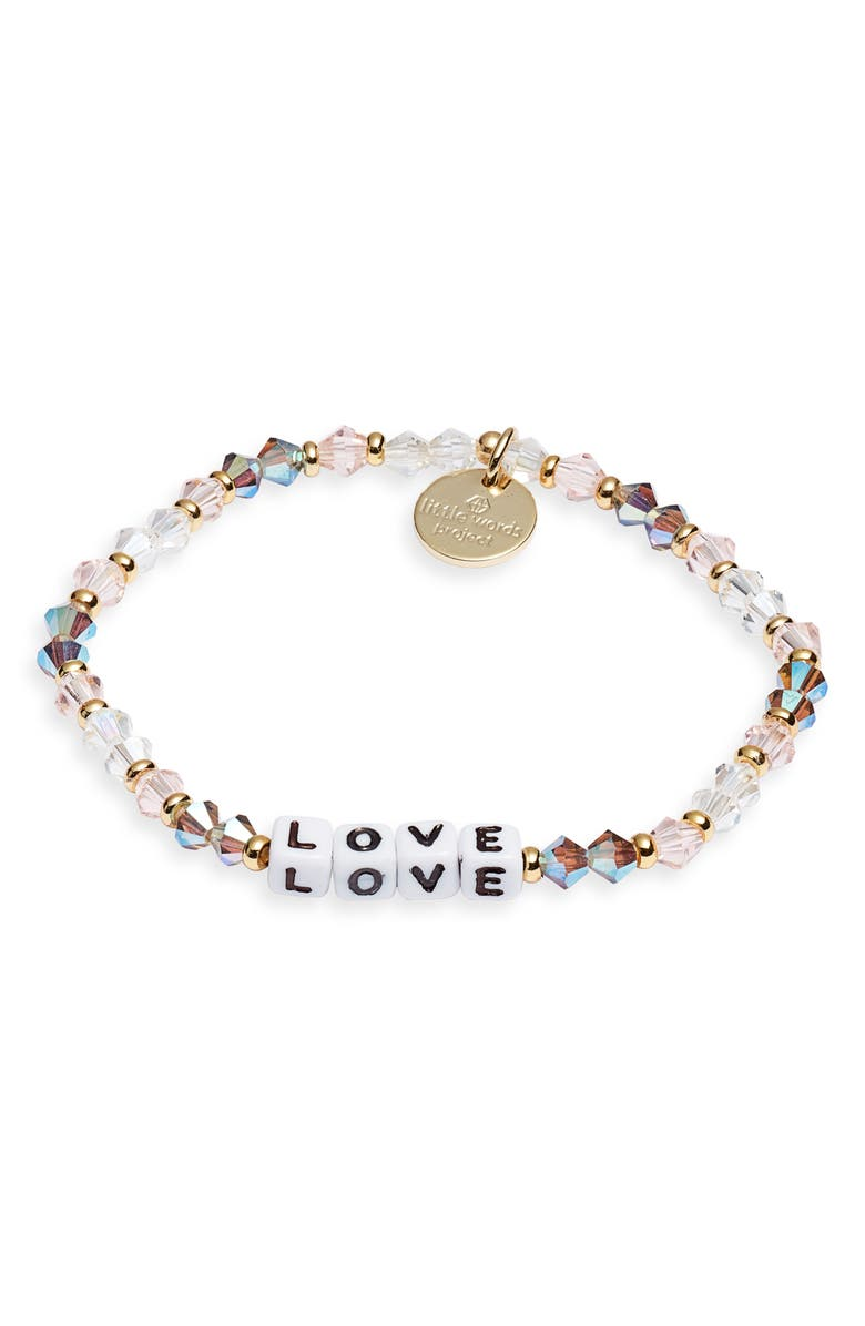 LITTLE WORDS PROJECT Love Beaded Stretch Bracelet, Main, color, ARROW WHITE