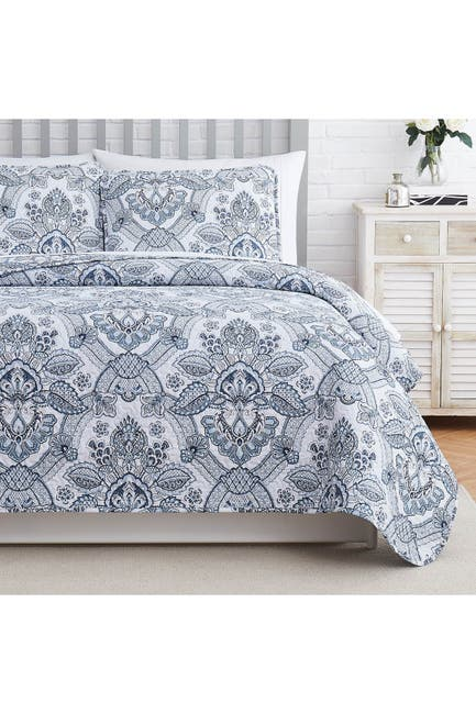 Image of SOUTHSHORE FINE LINENS Enchantment Oversized Quilt Cover Set - Blue - King/California King