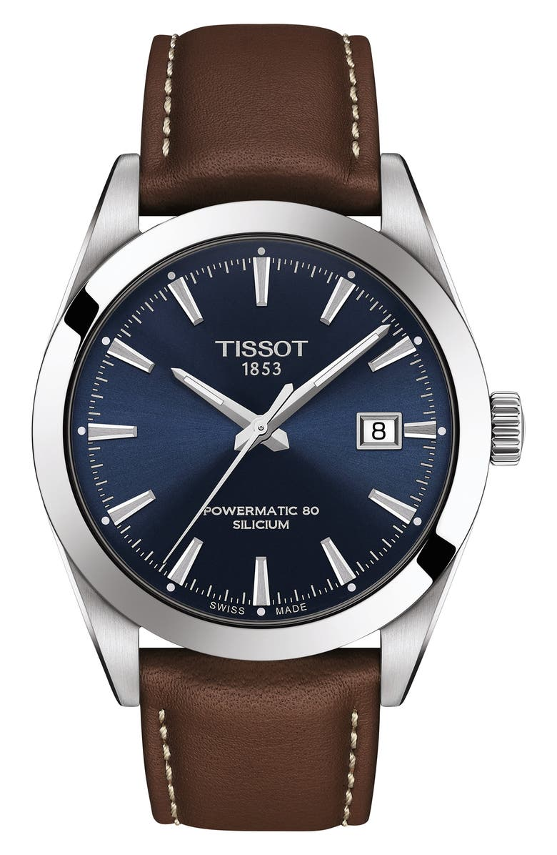 TISSOT T-Classic Powermatic 80 Leather Strap Watch, 40mm, Main, color, BROWN/ BLUE/ SILVER