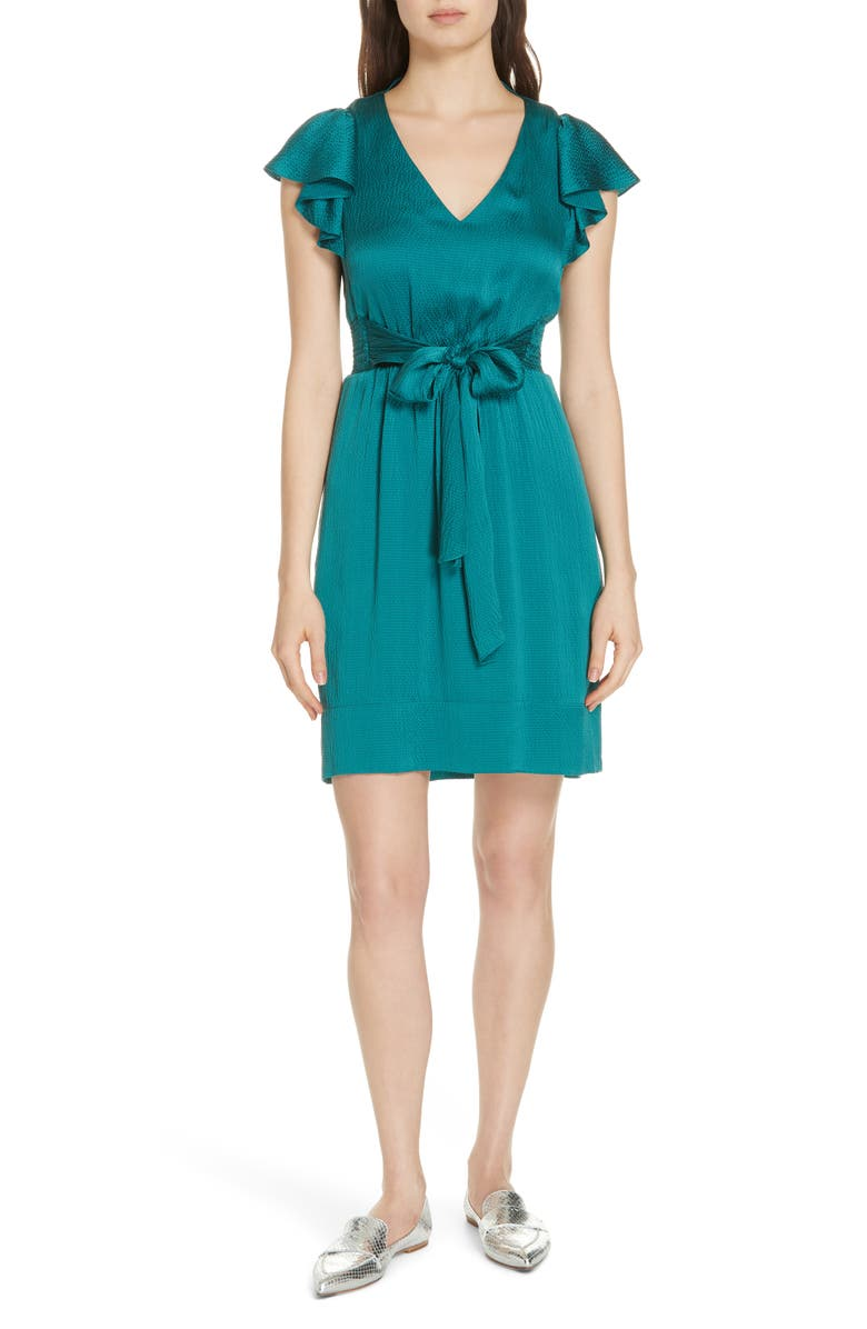 REBECCA TAYLOR Ruffle Sleeve Textured Silk Dress, Main, color, 440