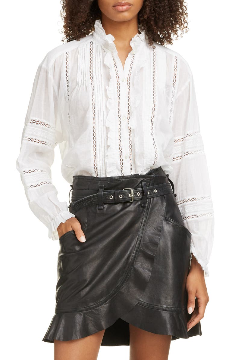 ISABEL MARANT ÉTOILE Valda Cotton Shirt, Main, color, WHITE