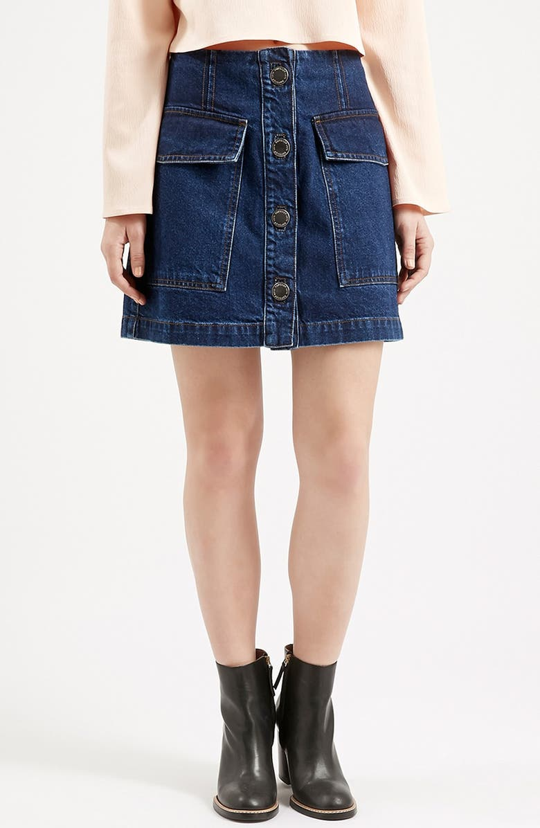TOPSHOP Button Front Denim Skirt, Main, color, INDIGO