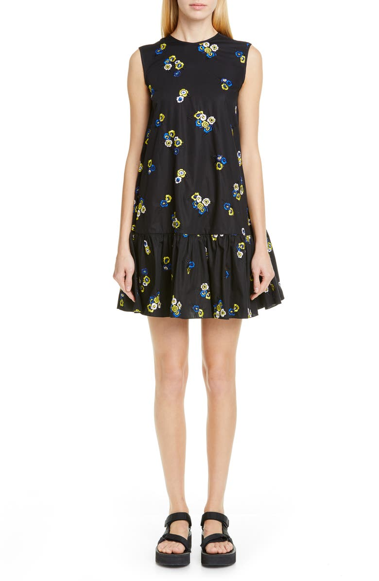 CECILIE BAHNSEN Lala Embroidered Trapeze Dress, Main, color, 001