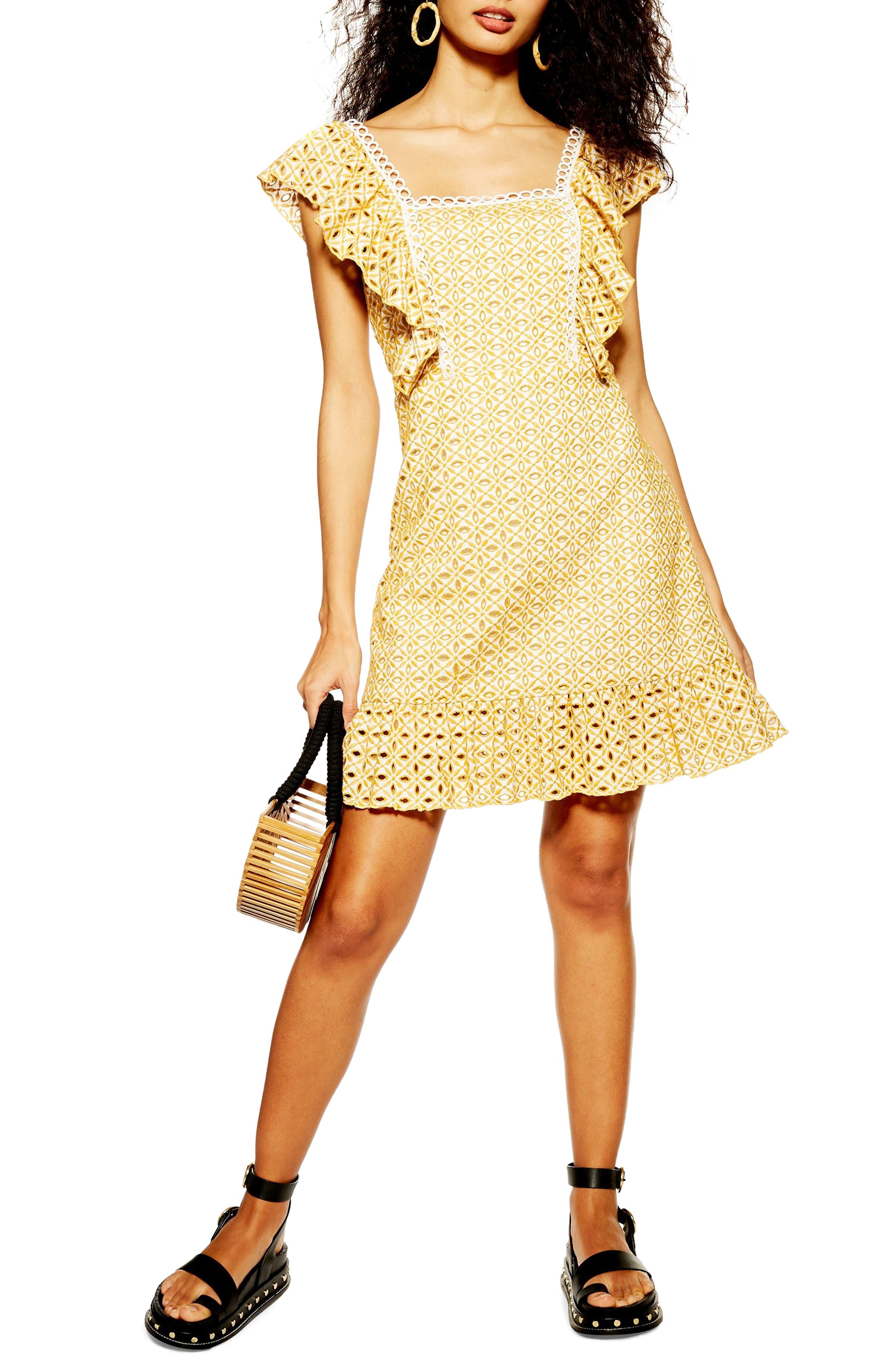 Topshop Broderie Ruffle Minidress, US (fits like 2-4) - Yellow