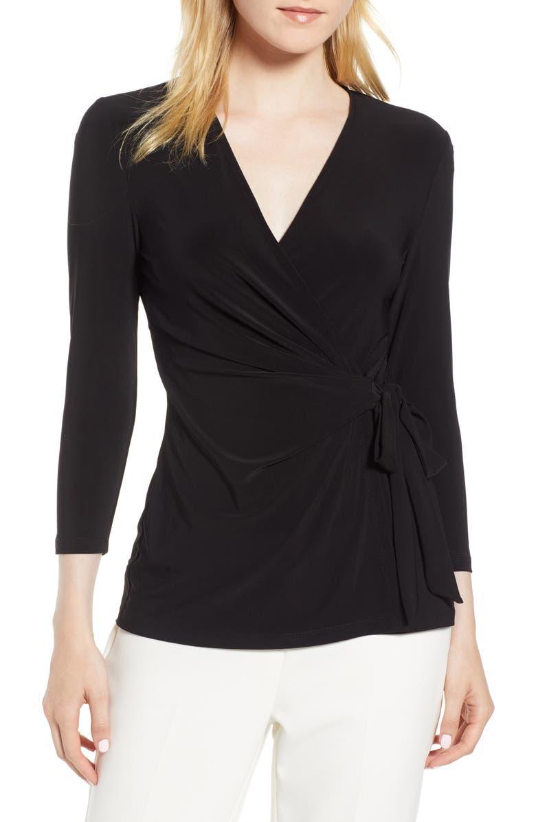ANNE KLEIN Faux Wrap Jersey Top, Main, color, BLACK