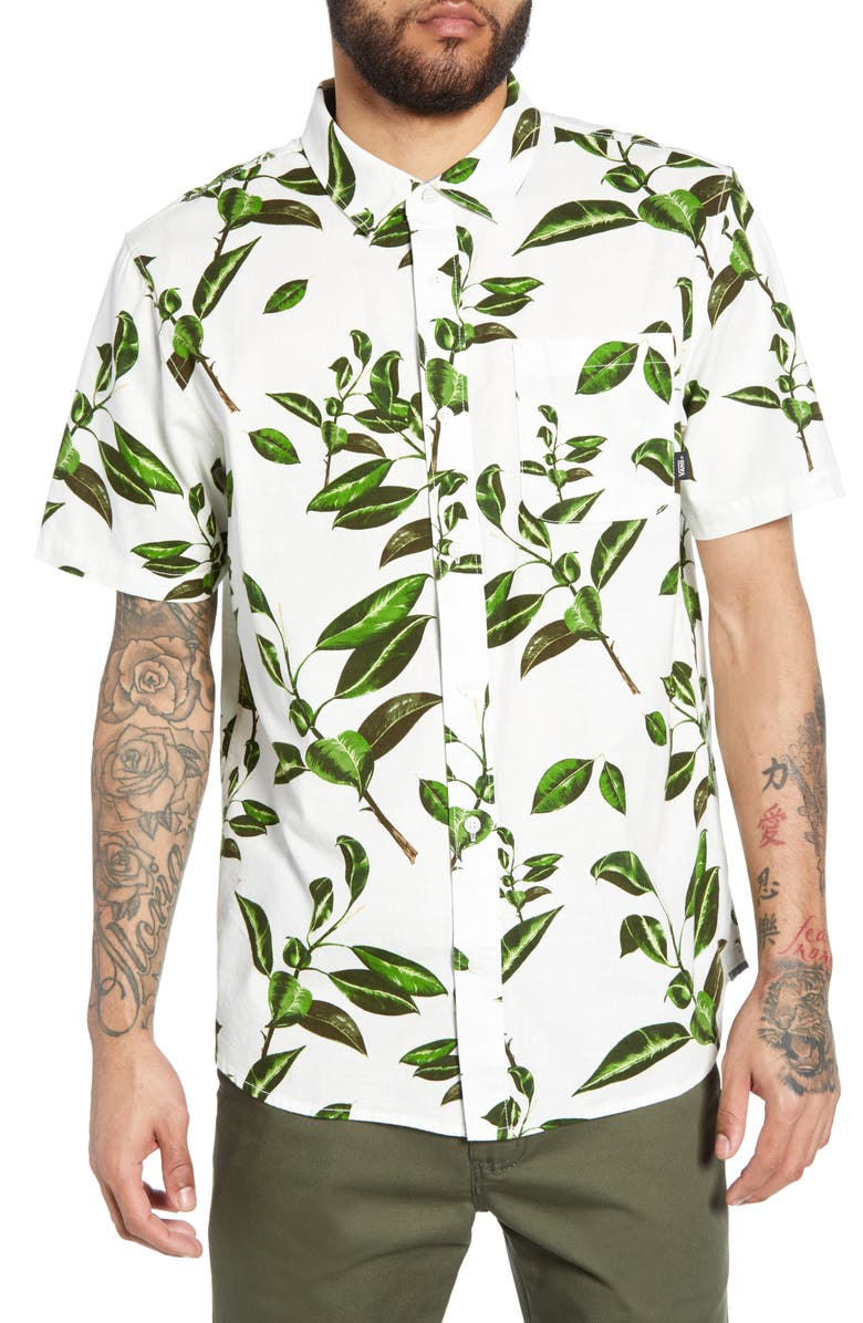 VANS Rubber Co. Tree Print Classic Fit Woven Shirt, Main, color, 100