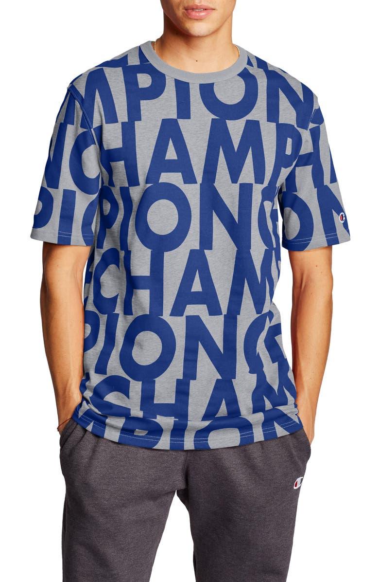 CHAMPION Big Block Script Heritage Crewneck T-Shirt, Main, color, BIG BLOCK TEXT OXFORD GREY