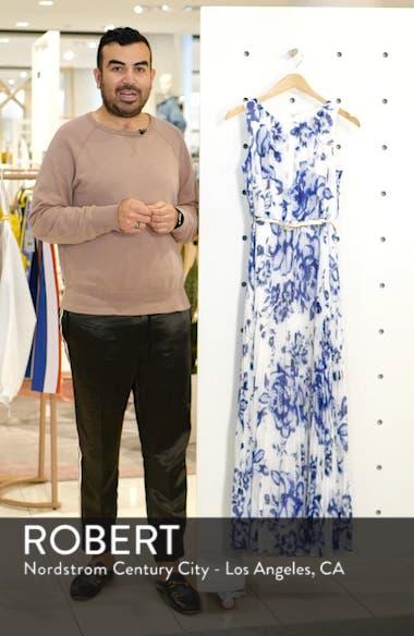 Pleated Floral Chiffon Maxi Dress, sales video thumbnail